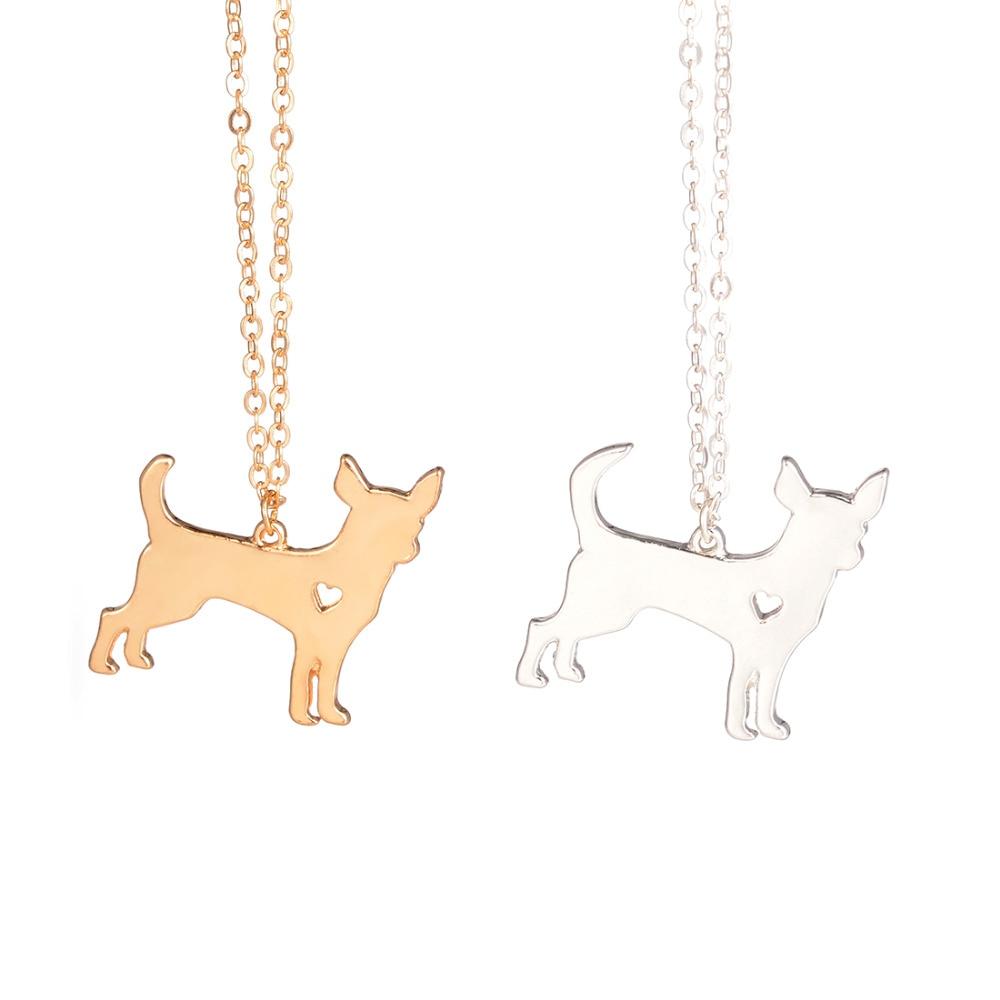 Zlaté a stříbrné 1ks Chihuahua náhrdelník vlastní pes - Bižuterie
