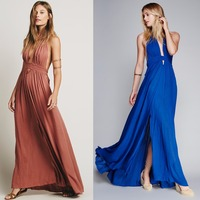 New 4 Color Deep V Neck Maxi Dress Women Sexy Backless Evening Party Dresses Night Club