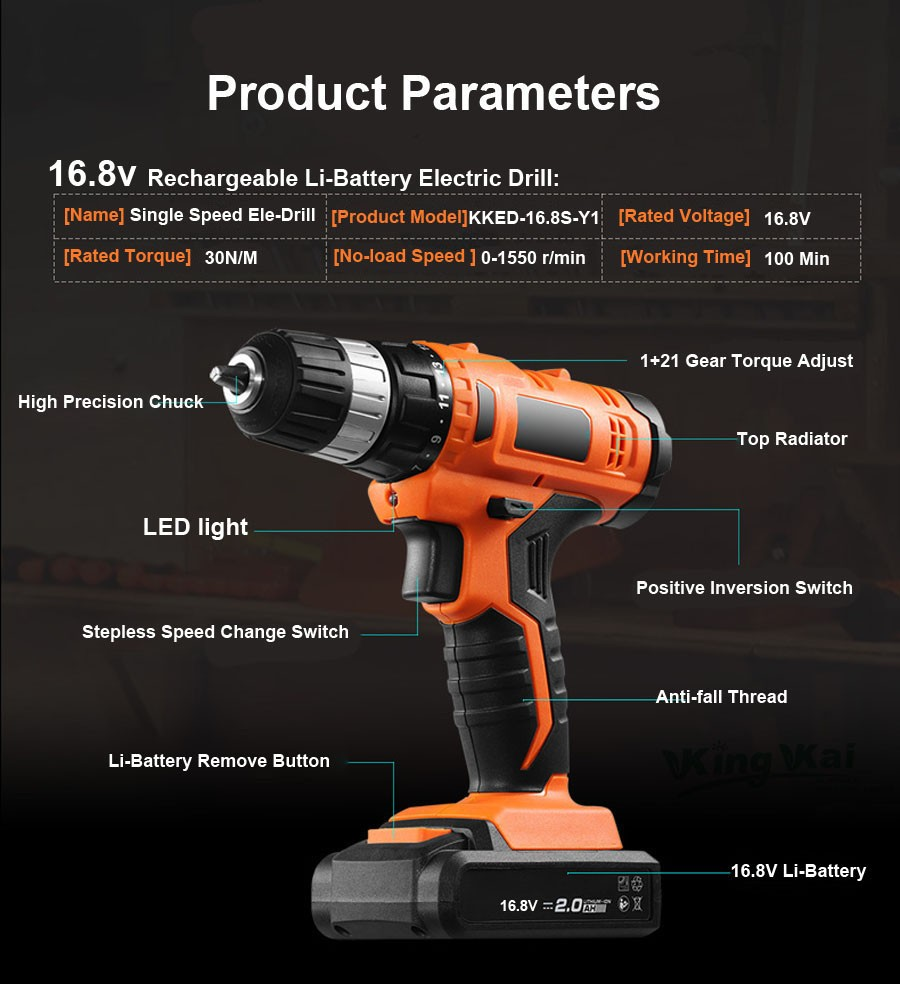 Cordless Lithium Battery Electric Drill-14-16,8V
