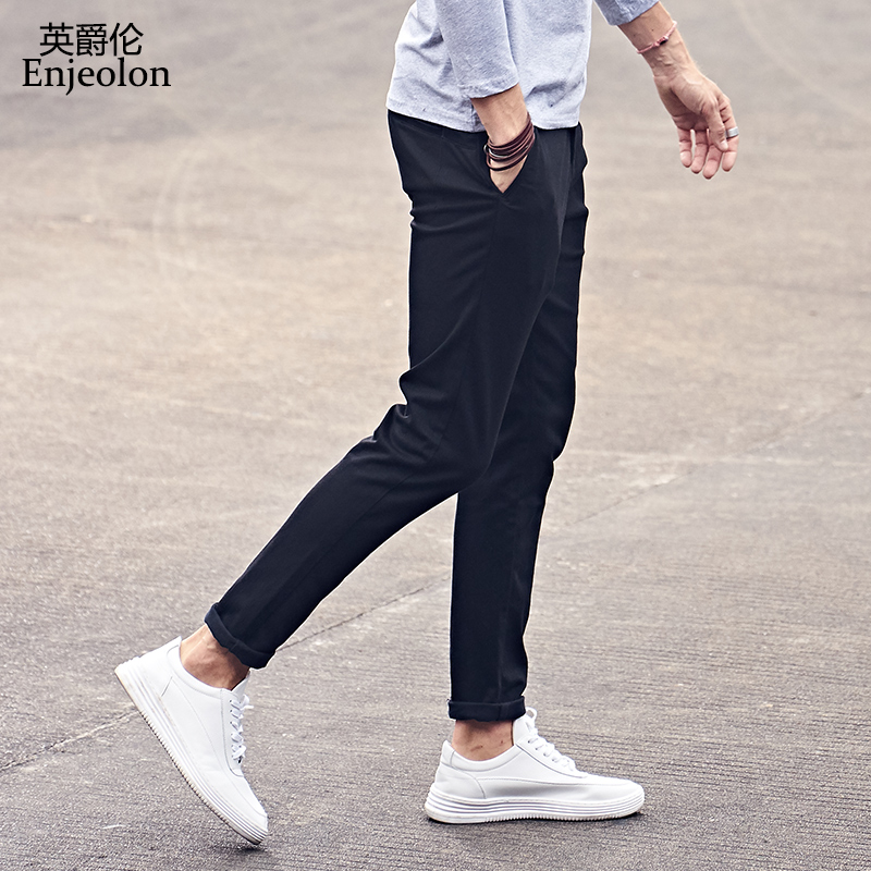 Enjeolon Brand Quality Long Trousers Men Straight Casual Pants Man Fashion Fit Black Casual Pants Male Plus Size Pants KZ6149