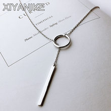 XIYANIKE Vintage 925 Sterling Silver Jewelry Circle Strip Long Chain Pendants&Necklaces sterling-silver Choker Necklace VNS8002(China)