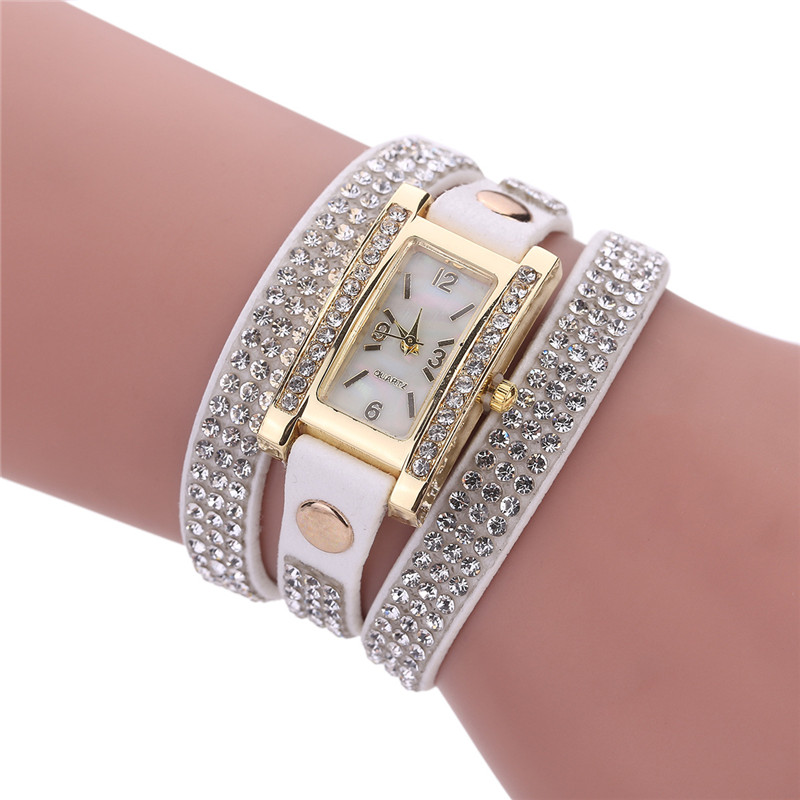 2017 NEW Women Quartz Watches Women Clock Gold Square Rhinestone Leather Bracelet Casual Fashion Watch Ladies reloj mujer femme