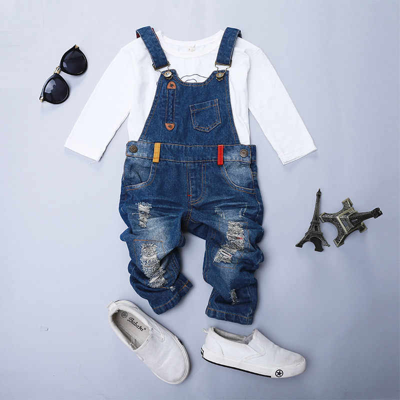 Baby girls boys broken Hole jeans Overalls Kids denim jumpsuit straps pants Ripped jeans for girl boy children's trousers