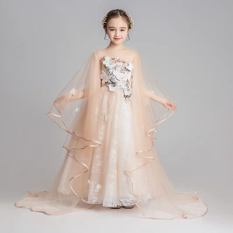 Children Girls Elegant Champagne Birthday Evening Party Ceremony Princess Long Dress Kids Teen Model Show Performance Prom Dress
