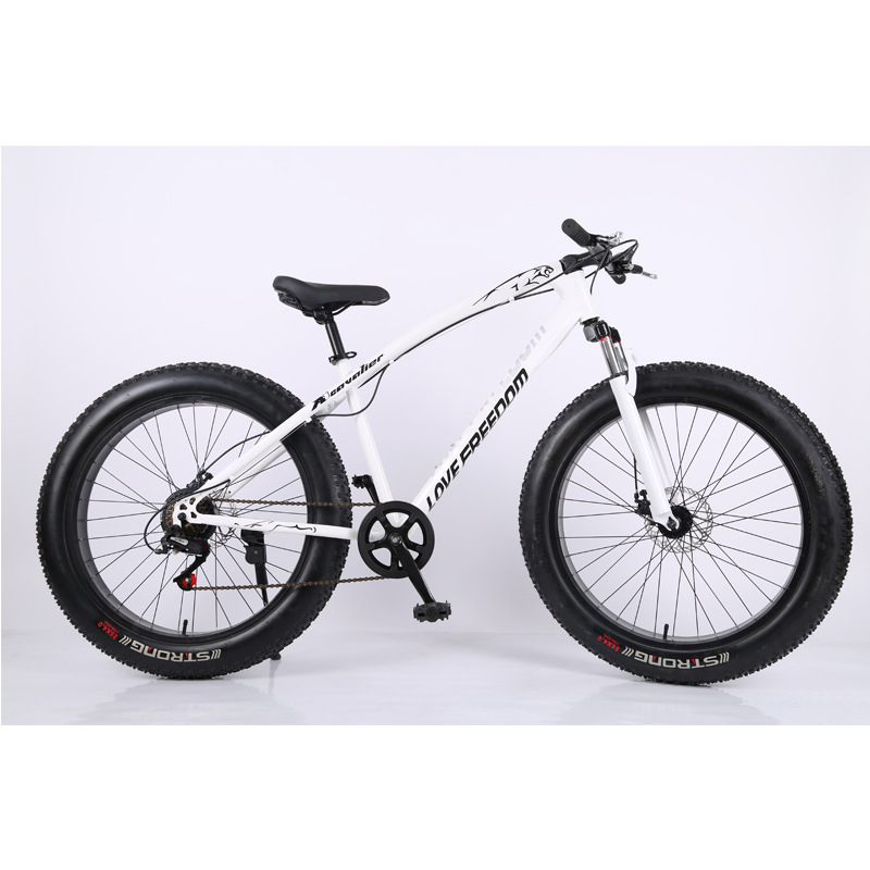 White Angel Beach Bike Snow Bicycle 27 Speed Dual Disc Brake Wide Tire Cross-country Speed Mountain Bike