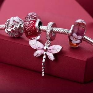 Image 5 - Rosa libélula pingente 925 prata esterlina contas encantos ajuste pulseiras nunca mudar cor DDBJ018 G