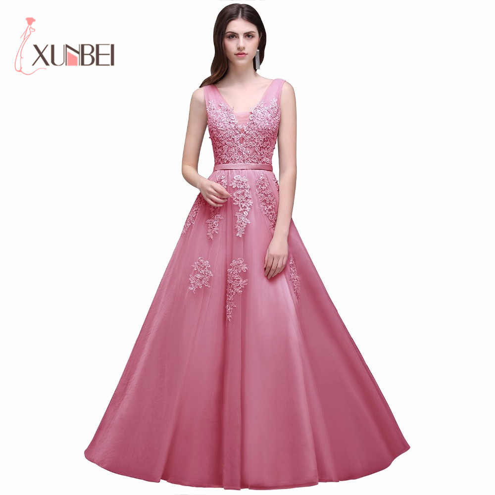 V Neck Lace A Line Long Prom Dresses Tulle Applique Beaded Backless ...