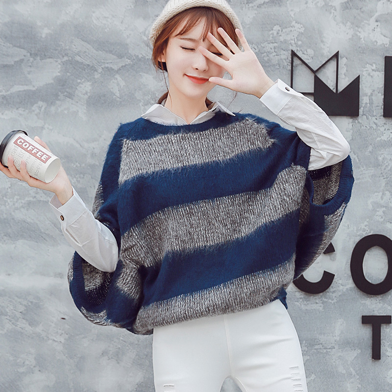 MUMUZI 2017 Autumn and Winter Korea chic pullovers tops bat sleeve type big yards stripe mohair sweaters knitwear short design