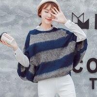MUMUZI 2017 Autumn And Winter Korea Chic Pullovers Tops Bat Sleeve Type Big Yards Stripe Mohair