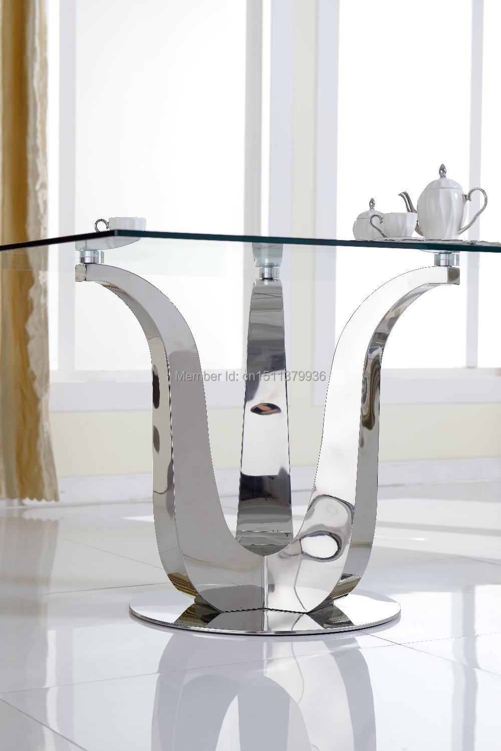 New fashion Living room furniture Stainless steel dining table ...