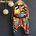 Bear leader conjuntos de ropa para niños de invierno 2017 niños niñas ropa de manga larga de impresión activo cremallera chaquetas + pantalones 2 unids deporte trajes