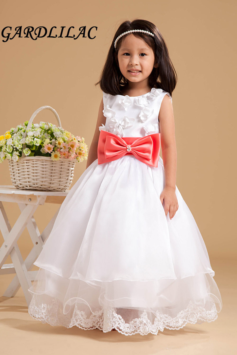 2017 Orgnanza White Flower Girl Dress Red Bow Ball Gown Frist First