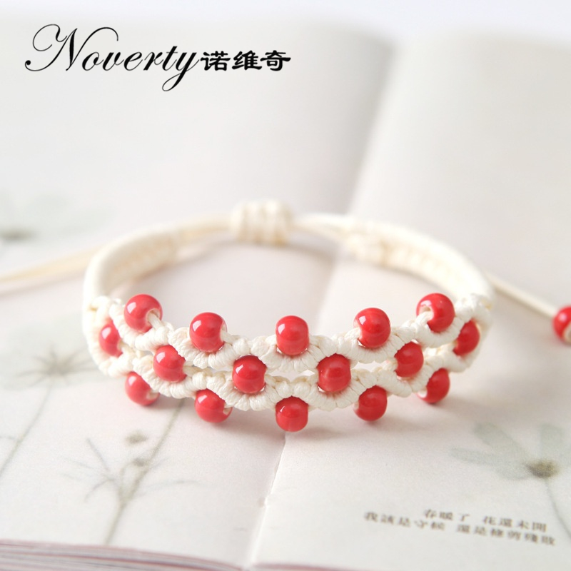 2017 New Fashion Handmade Multilayer Ceramic Beads Knitted Bracelets for Women Girls Lovers Date Gifts Party Gifts