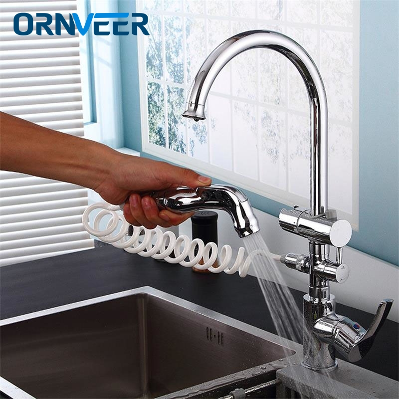 Hot Cold 2 Outlet Spring Taps Chrome Spring Pull Down Kitchen Faucet Dual Spouts 360 Swivel Handheld Shower Kitchen Mixer CraneHot Cold 2 Outlet Spring Taps Chrome Spring Pull Down Kitchen Faucet Dual Spouts 360 Swivel Handheld Shower Kitchen Mixer Crane