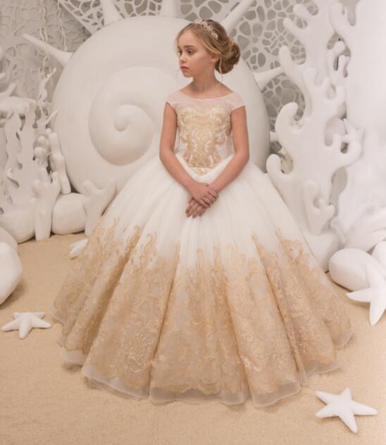Open back champagne lace appliques ball gown junior kids holy the first communion gowns flower girl dresses with long train white ivory lace appliques crystals flower girl dress off the shoulder a line princess holy the first communion gown with train