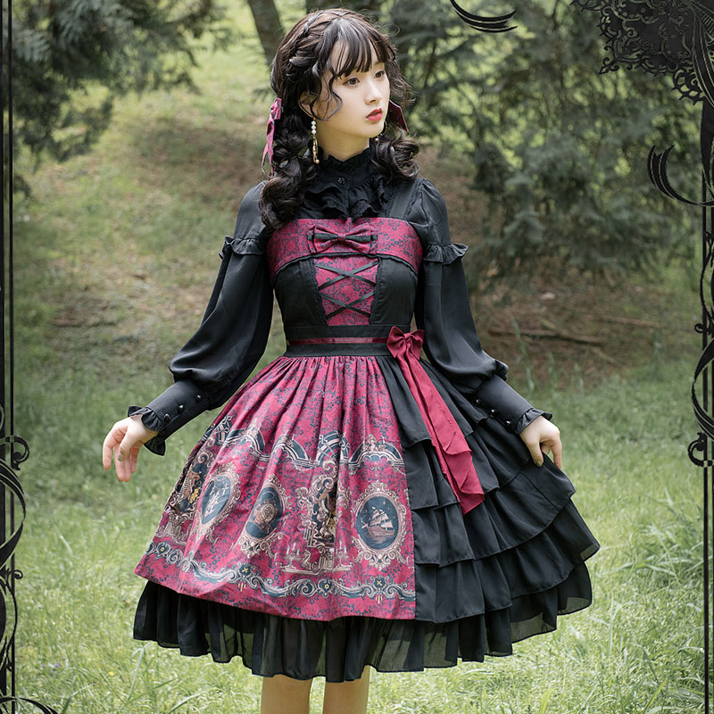 The Sirens ~ Gothic Printed Lolita Dress Baroque Printed Party Dress