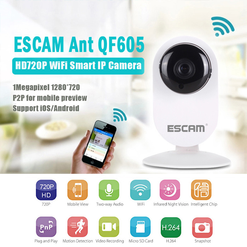 ESCAM Ant QF605 Wireless Surveillance Camera WIFI HD P2P IP Camera Home Security Infrared Camera Monitor Support IOS/Android