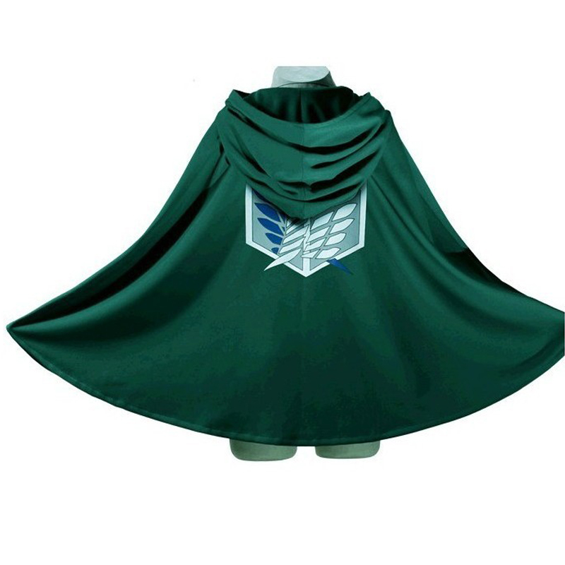 10pcs/lot Attack On Titan Costume Green Cloak Japanese Anime Cosplay Shingeki NoKyojin Hoodie Eren Levi Mikasa Scout Legion Coat