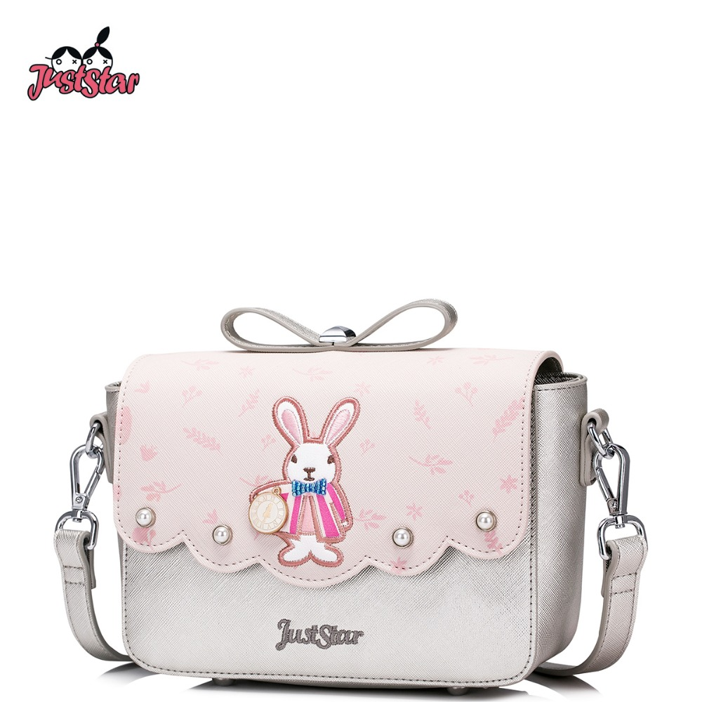 JUST STAR Women PU Leather Messenger Bags Ladies Embroidery Shoulder Purse Girl's Rabbit Rivet Flap Crossbody Bags JZ4422 just star women s pu leather messenger bags ladies embroidery shoulder purse female chain leisure whale crossbody bags jz4468