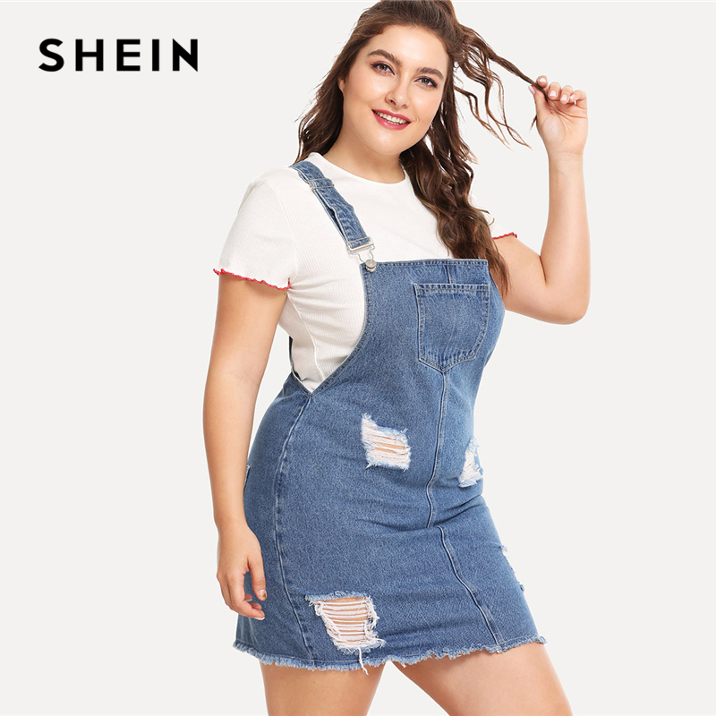 SHEIN Hem Distressed Denim Overall Dress 2018 Summer Straps Sleeveless Ripped Clothing Women Plus Size Casual Denim Dress