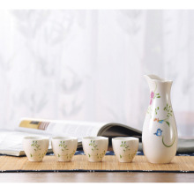 5 Piece Ceramic White Traditional Japanese Sake Set with Flower Design