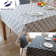 Pastoral Tablecloths Cotton & Linen Table Cloth Tree Printed Rectangular Cover Lace Edge Tablecloth