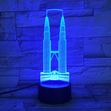 Famous Buildings Kuala Lumpur City Petronas Twin Towers USB 3D led night light Festival Gift decorative lights Desk lamp bedroom