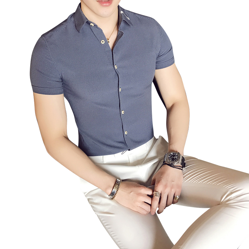 2018 Summer Shirt Men's Short-sleeved Slim-free Korean Youth Trend Of Business Handsome Striped Wild Shirt Men
