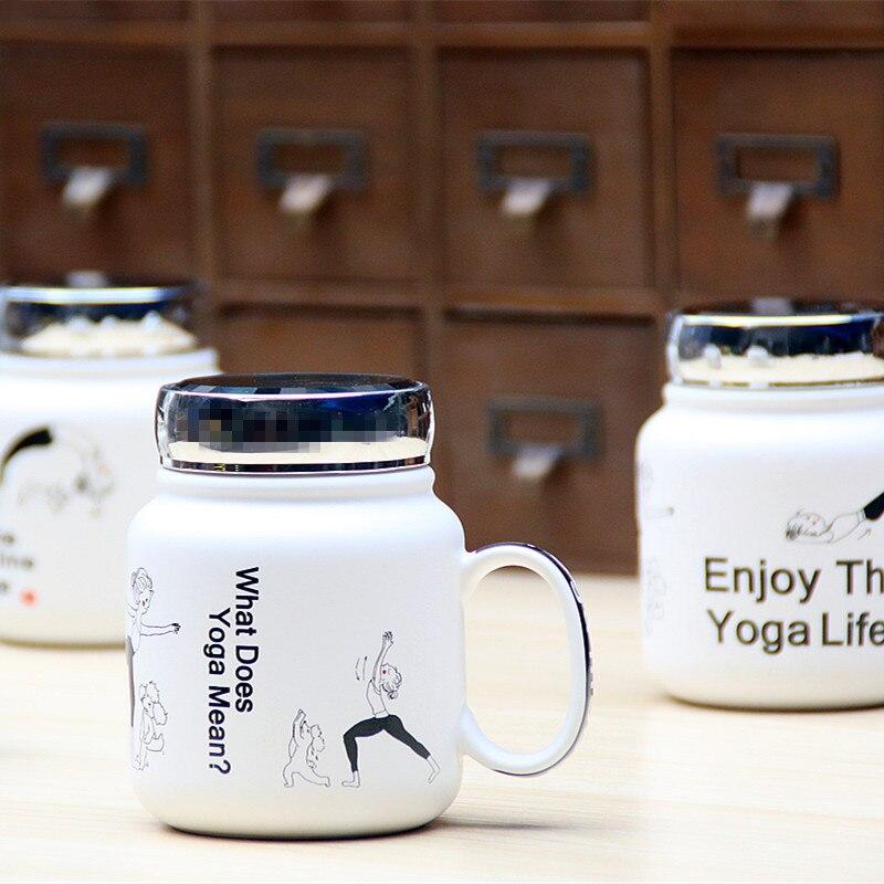 Creative Style Yoga Coffee Mug with Lid 2