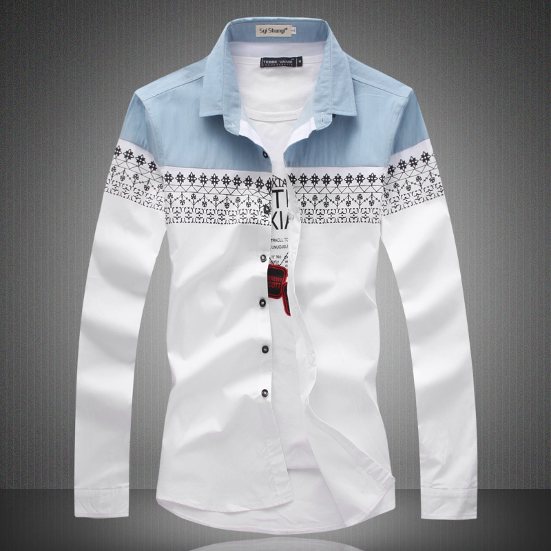 Big Size New 2017 Mens Shirt Slim Fit Fashion Long Sleeve ...