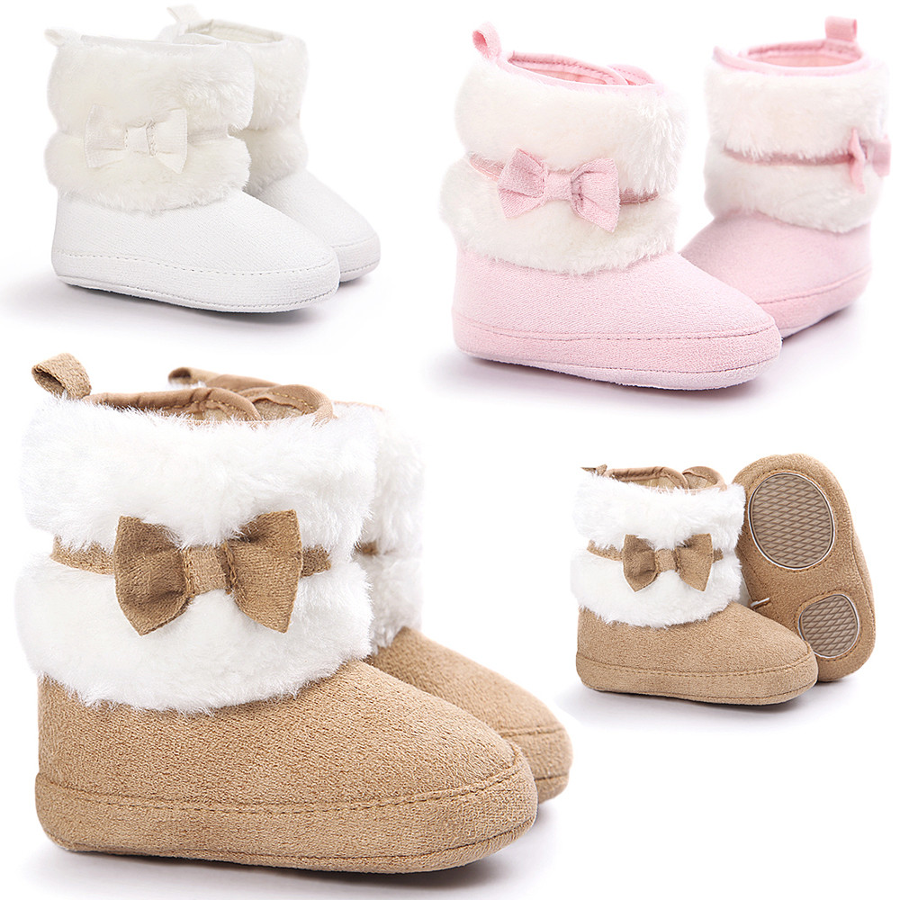 Fashion Design Baby Girl Winner Shoes Newborn Bowknot Keep Warm Soft Sole Snow Boots Soft Crib Shoes Toddler Boots