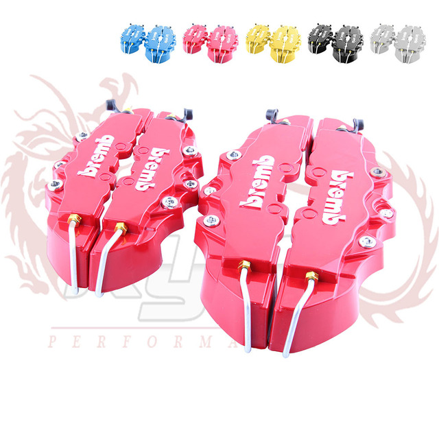 KYLIN STORE -  Bremb Look Brake Caliper Cover Kit Front/Rear one set =4pcs Red Blue Yellow Silver