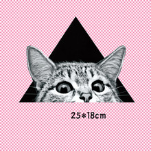 25x18cm Pet Cat Head Patch T-shirt Press Sticker Applique Washable Iron On Transfers Patches For Man Woman T Shirt(China)