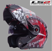 Free shipping dual lens LS2 FF370 motorcycle helmet visor exposing new cost-effective full-face helmet / Black and red speed