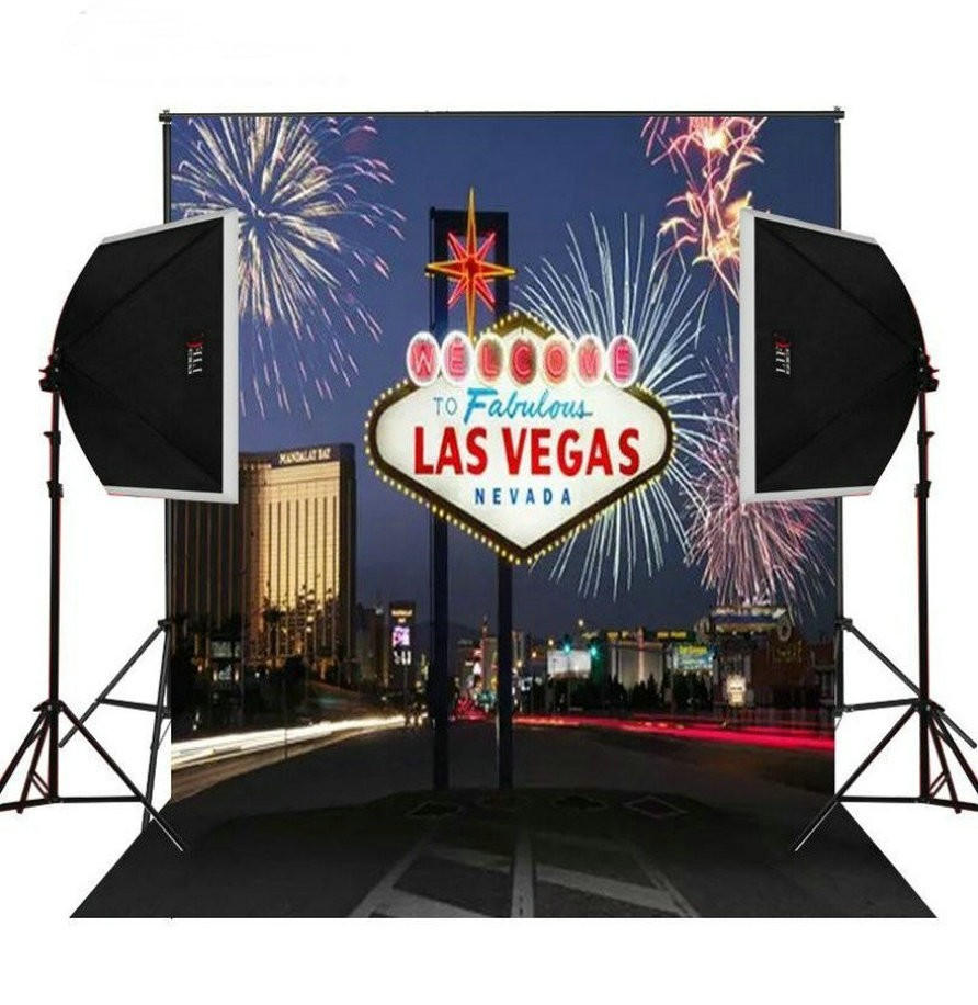 Las Vegas Scene Theme Fireworks City photo studio background Vinyl cloth High quality Computer print party backdrop