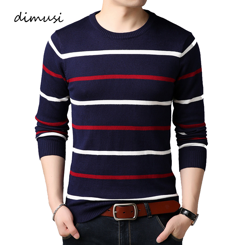 DIMUSI Autumn Winter Men's Sweater Mens O-Neck Striped Casual Sweater Mens Slim Fit Brand Knitted Pullover Clothings,YA923