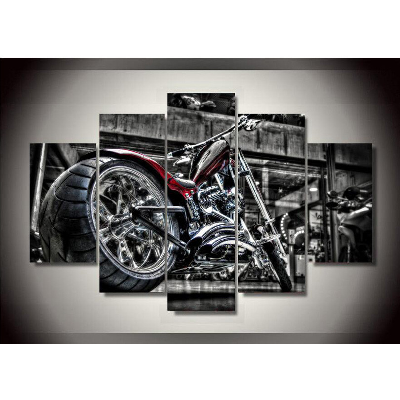 canvas printings fashion custom bike painting wall art home decoration poster canvas framed free shipping
