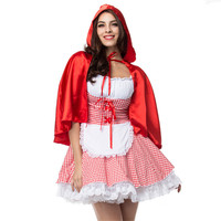 new Halloween Christmas Large size Pastoral maid Little Red Riding Hood Dress With cloak Red plaid Small Red Cap cosplay Costume