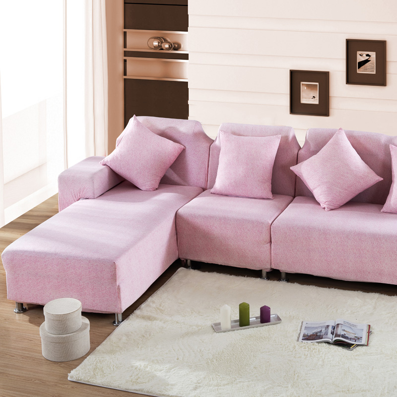SunnyRain Solid Pink Sofa Cover Elastic L Shaped Sofa Cover ...