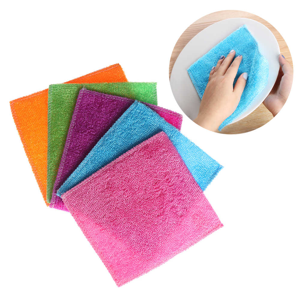5PCS/Pack Gifts High Efficient Anti-grease Dish Cloth Bamboo Fiber Washing Towel Magic Kitchen Scouring Pad Cleaning Wiping Rags