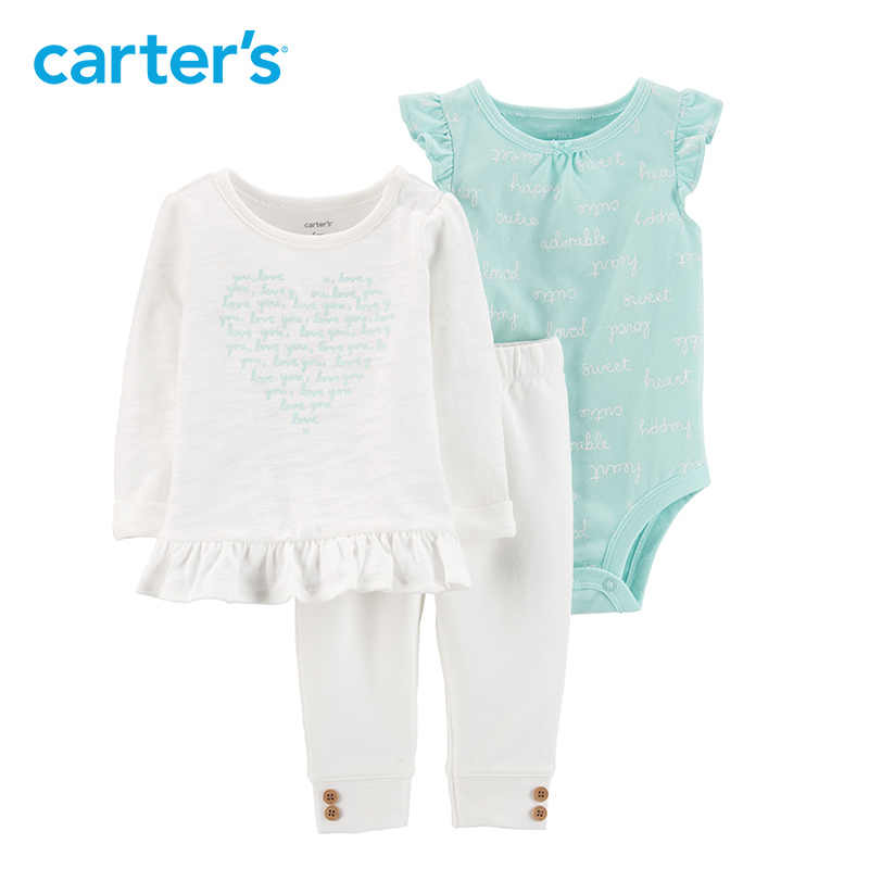 879125af2 Carters baby girl clothes 3-Piece Heart Top & Pant Set Fashion tee bodysuit  pant