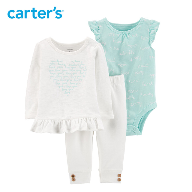 ef522bfd7 Carters baby girl clothes 3-Piece Heart Top & Pant Set Fashion tee bodysuit  pant baby's set Newborn baby clothing 16623111