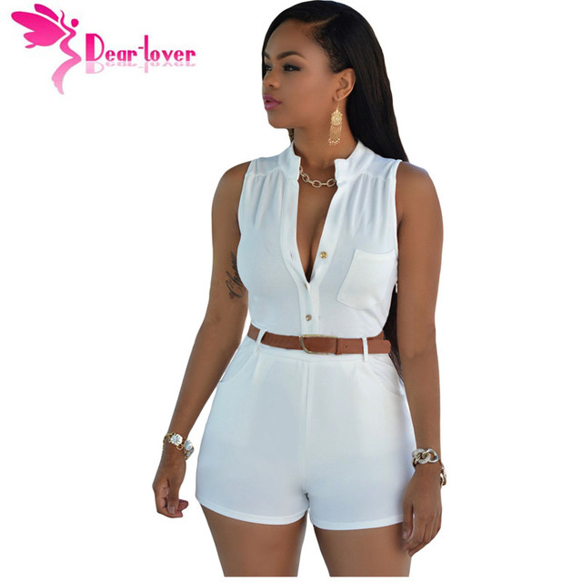 3e6faad6c15d DearLover Playsuit white jumpsuit for women fashion monos shorts de mujer  2016 Button Front Belted Romper