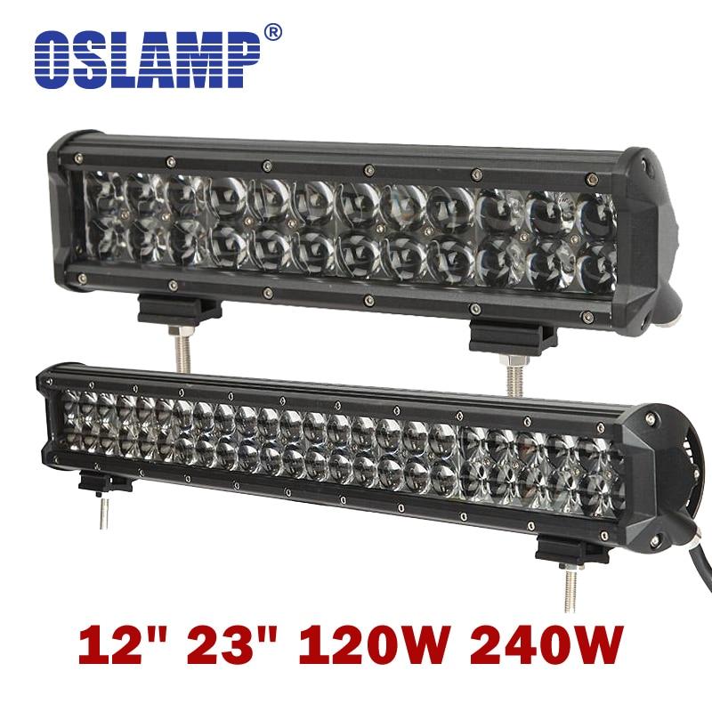 Oslamp 4D Lens 12 23inch 120W 240W Auto Combo Beam Led Light Bar OffRoad SUV Led Work Light Driving Led Bar PickUp Boat 4x4 ATV
