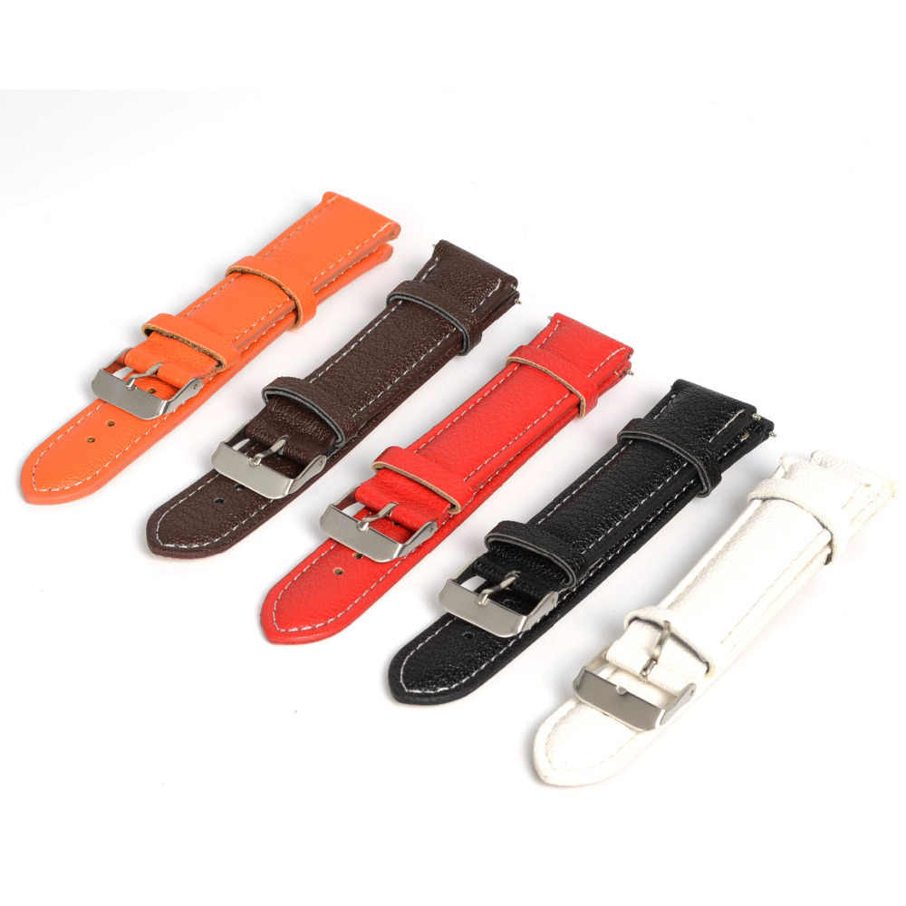 Hot New Arrival Soft Buffalo Grain PU Leather Men Women Watch Band Strap Buckle Bracelet Watchbands 16mm & 20mm 5 Colors