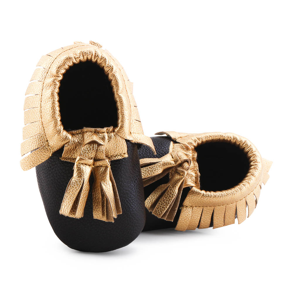 Super Cheap Price Tassel Style Baby Shoes  Shiny Gold PU Tassel Shoes Limited Time Sales