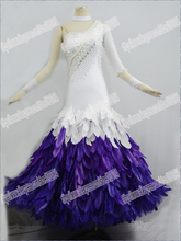 Modern Waltz Ballroom Dance Dress,Tango Dress, Waltz Competition Dress,Ballroom Dancewear,Feather dress,white and purple.fashion