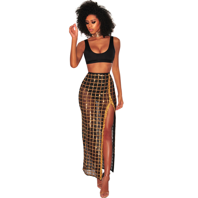 Sexy Frauen Zwei Stück Set Crop Bra Top Sheer Mesh Pailletten Plaid Split Rock Hohe Taille Weste Rock-Set-Party nachtclub Outfit Schwarz
