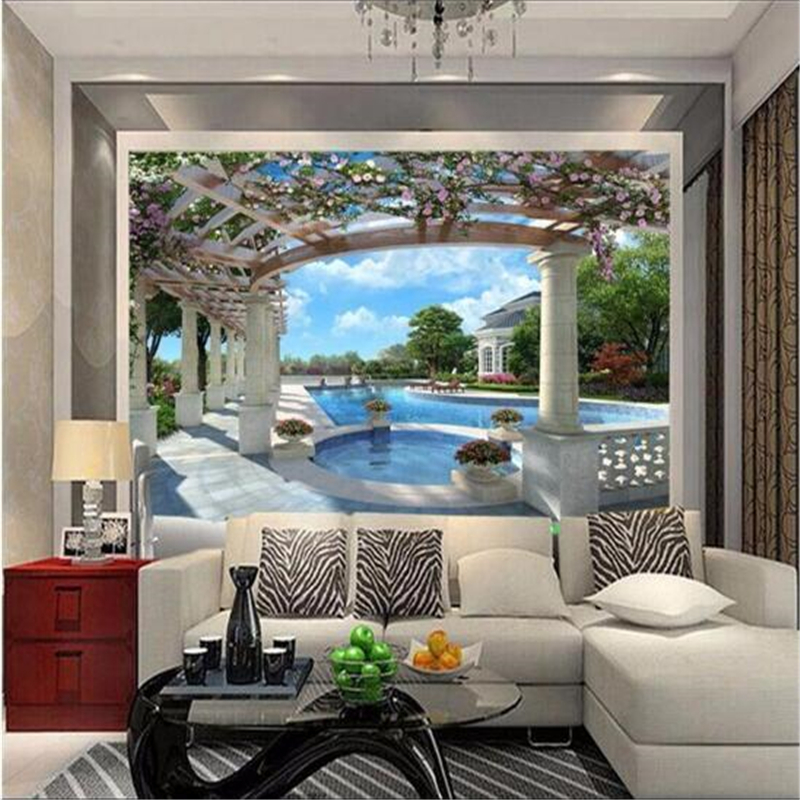 living tv background silver bedroom wall extending space stereoscopic cloth 3d
