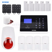 DIYSECUR Wireless & Wired Defense Zones APP Controlled GSM Autodial Home Security Alarm System+Flash Siren+RFID